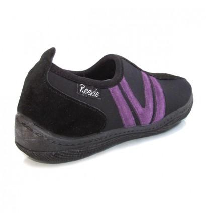 Chaussure Noir/Mauve sans lacet