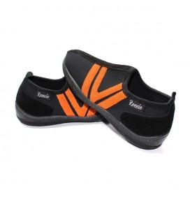 Chaussure Noir/Orange sans lacet
