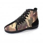 Chaussures montantes marron camouflage avec lacets