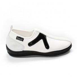 Chaussure Blanc/Noir sans lacet