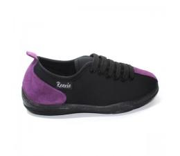 Chaussures basses Noir/Mauve avec lacets