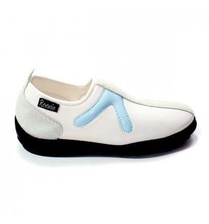 Chaussure Blanc/Bleu sans lacet