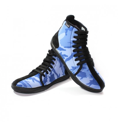 Chaussures montantes lacets bleu camouflage