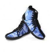 Chaussures montantes bleu camouflage avec lacets